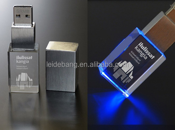 Hot sale laser engraving logo crystal usb flash drive,glass usb flash drive with led light