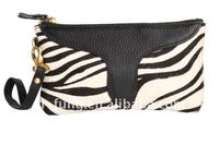 NEW arrival fashion Zebra prints ladies' GENUINE LEATHER WITH FUR evening/make up bag w/ strap