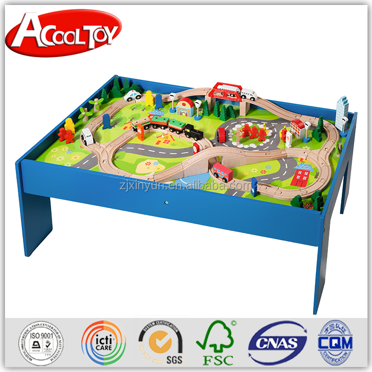 Activity educaional toy 100PC wooden train set with table
