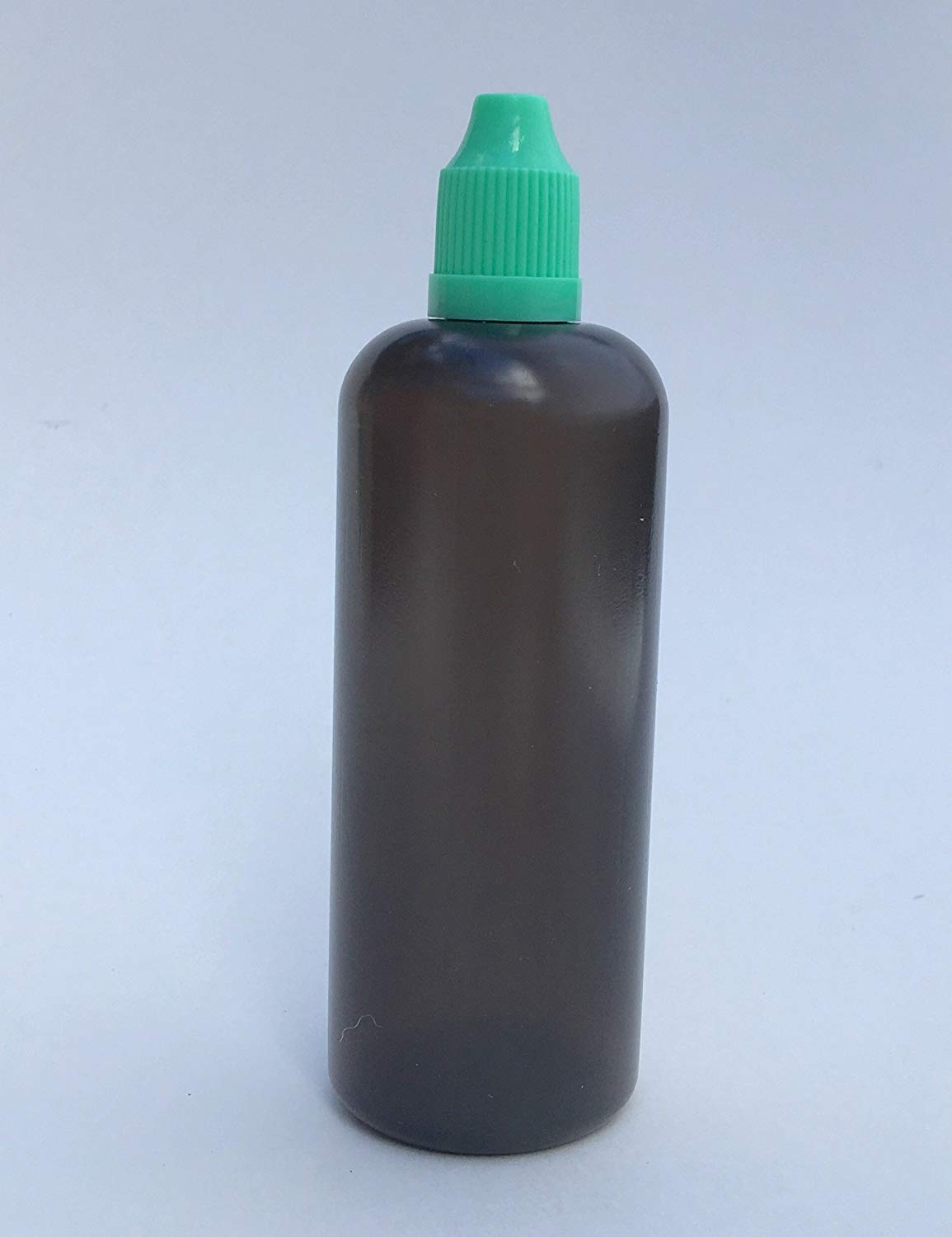 U-Need-A-Bottle (1) 4 oz Dark Black Plastic Bottle - 120 ml - BPA FREE - LDPE PE - EASY SQUEEZE Liquid Dropper Tip - Small Empty ROUND, Best For Tincture E Cig & Juice w/ Childproof Cap (Green)