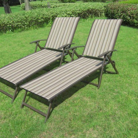 mainstays fair park sling folding lounge chairs set of 2 solid stripe multi - Lowes Patio Furniture 2