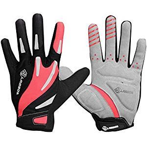 Lameda Cycling Gel Padded Full Finger Breathable Bike Gloves for Biking Red XL