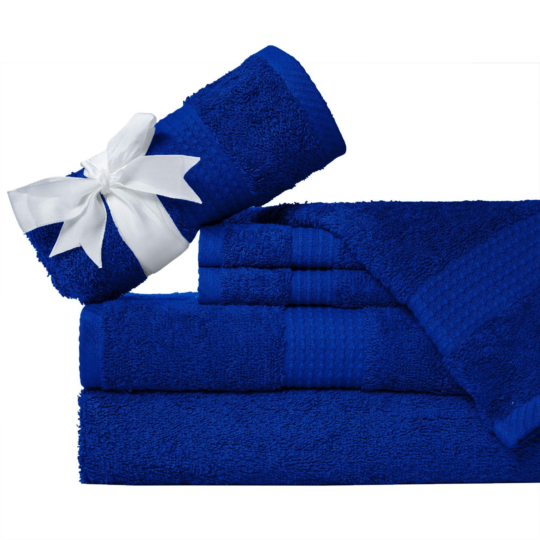 "Weavely Supersoft 100% Superior Cotton 6 Piece Bath Towel Set, Hotel & Spa QualityTowel, 2 x Bath Towels 30""X56"", 2 x Hand Towels 16""X28"", 2 x Wash Cloths 13""x13"" - Blue"