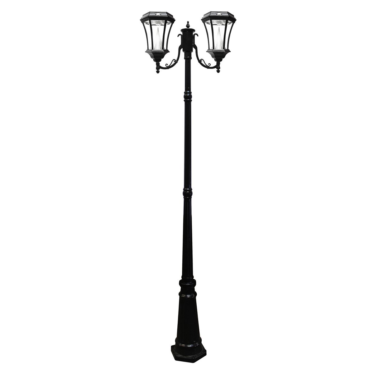 Gama Sonic Victorian Solar Lamp Post and Double Lamp LED Light Fixture, 90-Inch Height, Black Finish #GS-94D-B