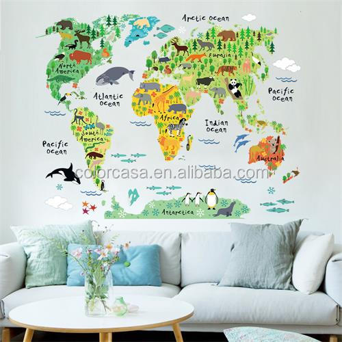 Colorcasa home wall decoration sheet cartoon animals type world map (ZY037)