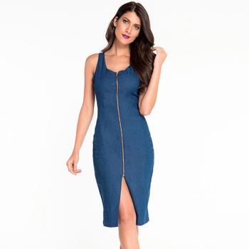 6a098858ac35 2016 fashion women clothing one piece midi dress sexy bodycon denim dress  for sale