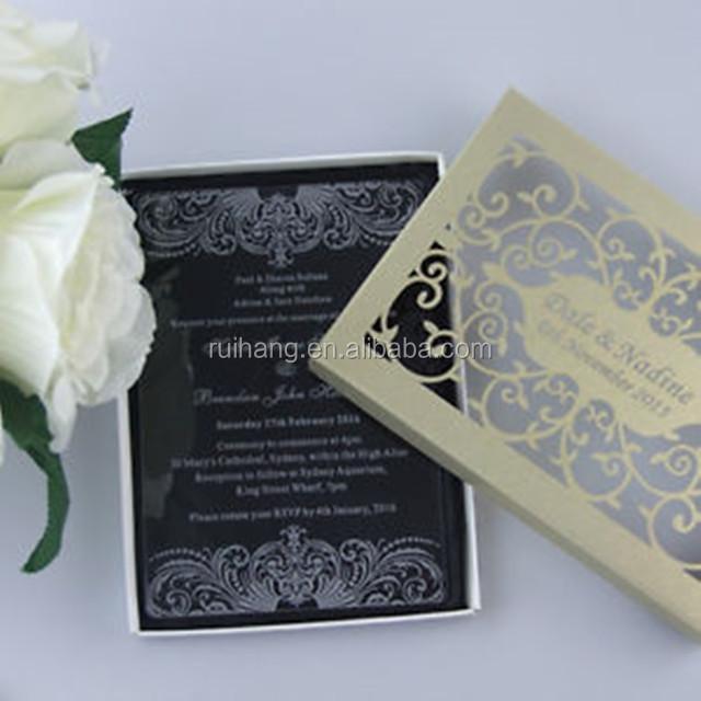Charming Clear Acrylic Wedding Invitations With White Silk Screen Printing  U0026 Laser Cut Box   Buy Letterpress Invitations,Invitation Wedding Card,Paper  ...