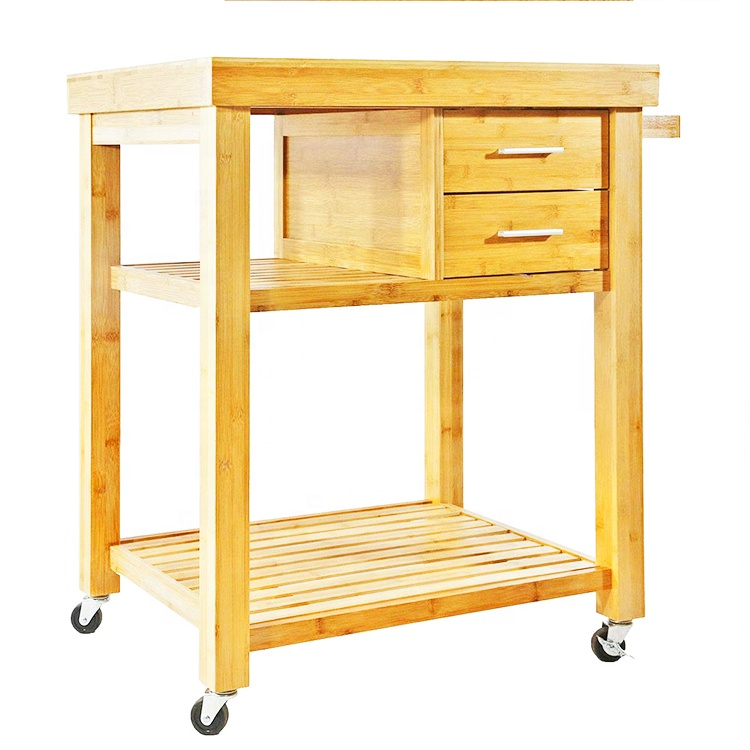 Natural Bamboo Rolling Kitchen Island Cart On Wheels With 2