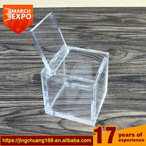 Portable 5mm transparent custom made square small clear plexiglass display acrylic box with hinged lid