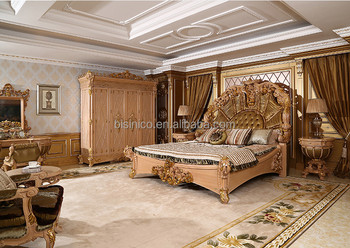 Luxurious Baroque Solid Wood Deep Carving 5PCS Bedroom Furniture, King Size  Bed With Upholstery Headboard