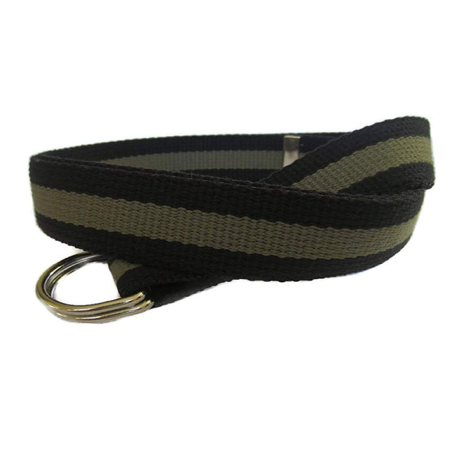 Mens Belt/Green and Black Canvas Belt/D-Ring Belt/Webbing Belt/Striped Belt in Army Green and Black - for boys teens men women Big & Tall and Plus Size