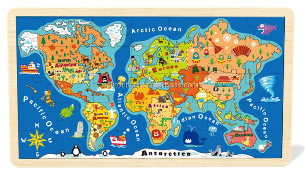 World Map Wooden Jigsaw Puzzle With Kinds Of Graphics For Kids