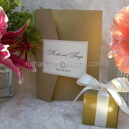 double panel pocket fold wedding invitation custom two language