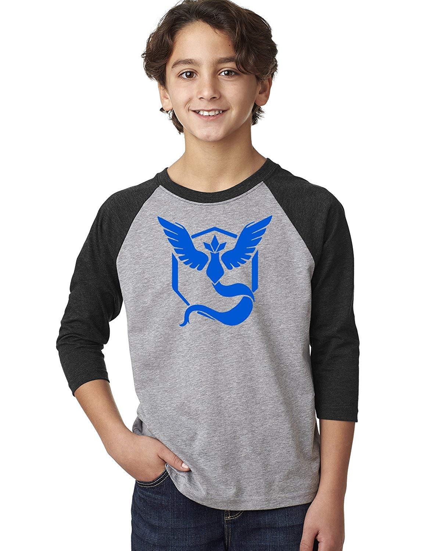 0ac1ee6df Get Quotations · Custom Apparel R Us Pokemon Go Gym Team Mystic Blue Youth  3/4-Sleeve