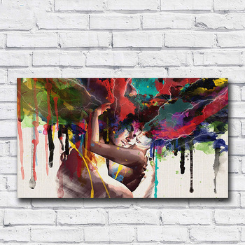 Wlong Love Kiss Oil Painting  Living Room Wall No Frame Decorative Pictures canvas for Abstract Art Painting