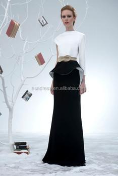 Vestiti Eleganti Bianco E Nero.Elegante Manica Lunga Abiti Da Sera Bianco E Balck Due Pezzi Nero
