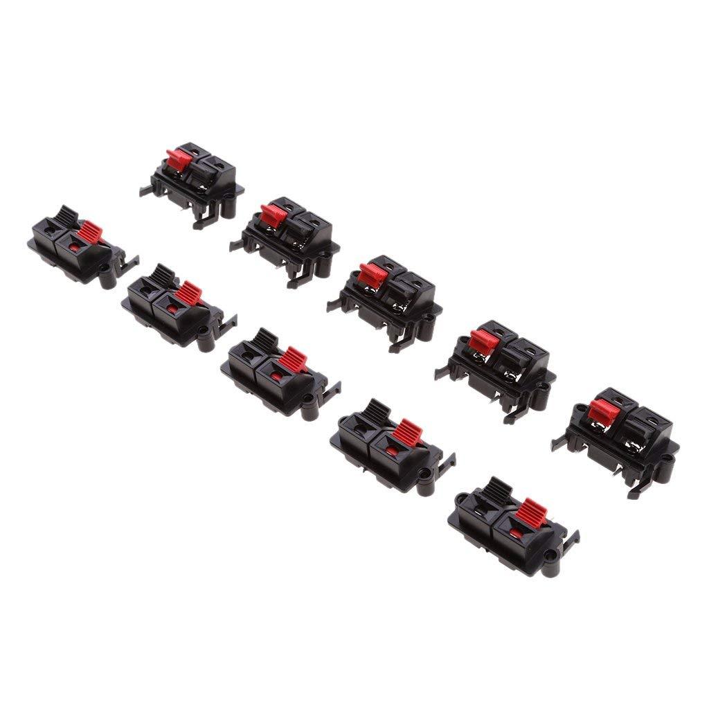 Fenteer Black Red Push-Type Speaker Terminals, Plastic Casing 2 Position Speaker Terminal Board 10 Pcs