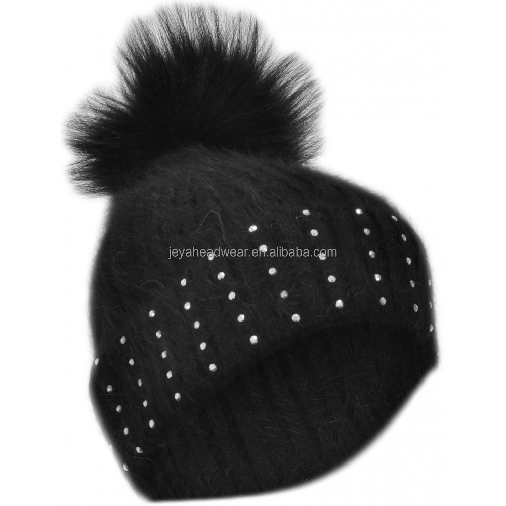 Soft wool knit hats crystal adult knitted hats black winter caps with big pom pom