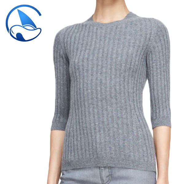 High fashion womens clothing knitted sweater with 2x2 rib