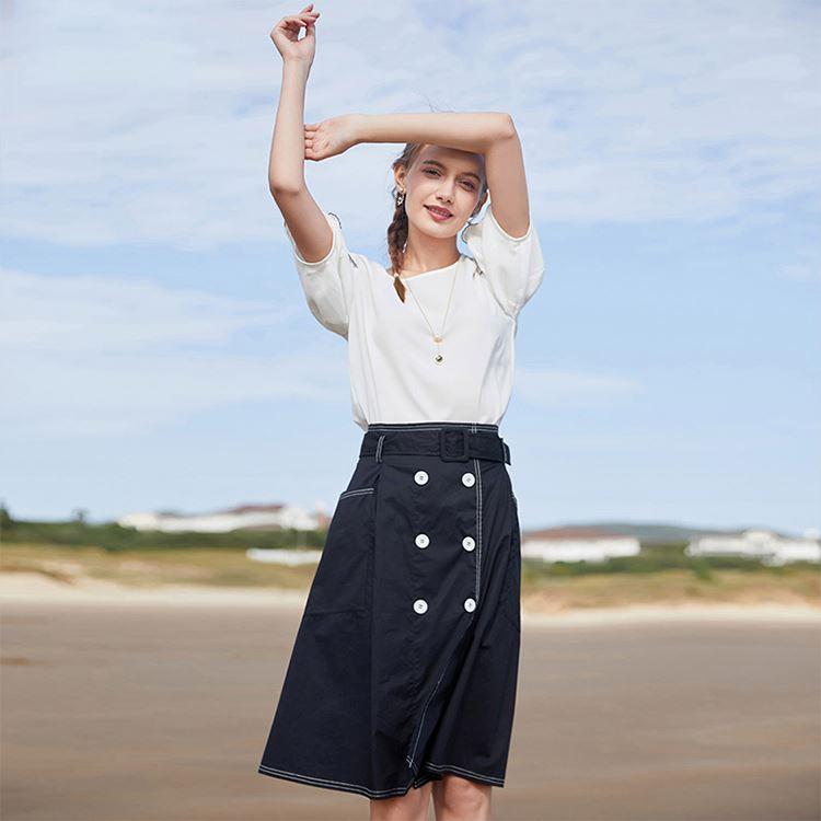 c3faa60f5 Venta al por mayor falda cintura alta con corte en a-Compre online ...