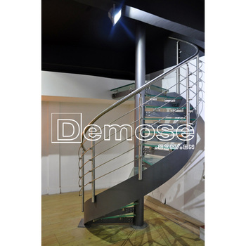 Spiral Stairs Fold Up Duplex House Glass Stairs