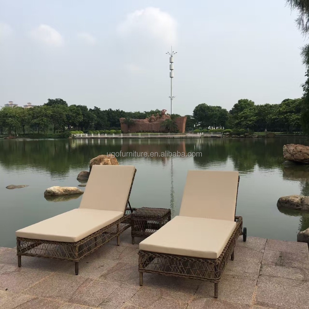 2016 new design double chaise lounges used outdoor rattan for Beach chaise longue