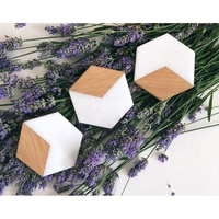 2019 Home Decorations Creative Chic Luxury Europe Style Cup Pads Mat Natural Bamboo Wood Marble Coaster Holder Set