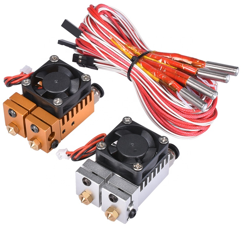 3D Chimäre Hotend Kit Dual Farbe 2 IN 2 OUT Extruder Multi-extrusion Alle metall V6 Dual Extruder 0,4 mm/1,75mm 3D drucker teile