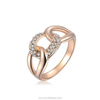 Trendy Design Chain Rings Party Ornament Wedding Gift Engagement Rings Rose Gold Plated Diamond Rings