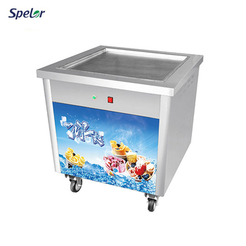 Fast-Cooling Evaporator Commercial Single Thai Fried Ice Cream Machine