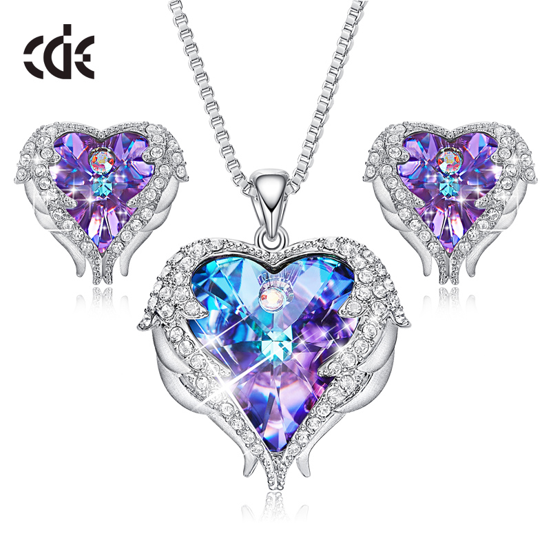 CDE Factory wholesale Women Crystal Heart Earring Necklace Fashion Jewelry <strong>Set</strong>