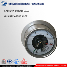 Electric contact pressure gauge with back connection front flange