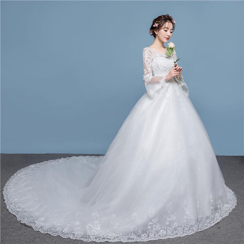 2018 Musim Semi Terbaru Korea Fashion Lengan Panjang Renda Bunga Gaun Pengantin Putih Gaun Pengantin Dengan Ekor Panjang Buy Lengan Panjang Renda