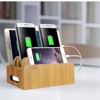 New Multi Device Phone Stand Dock Desk Organizer Docking Station Bamboo Wood Charging