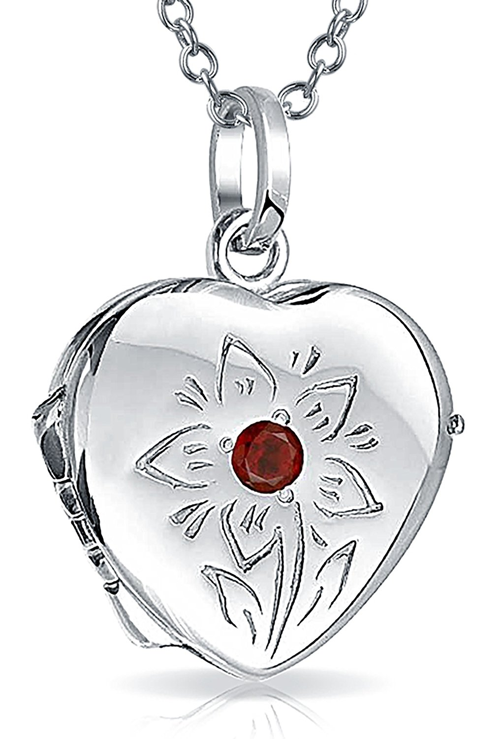 67cbfb5cdbfc28 Get Quotations · Engravable CZ Simulated Garnet Flower Heart Locket Pendant  Sterling Silver Necklace 18 Inches
