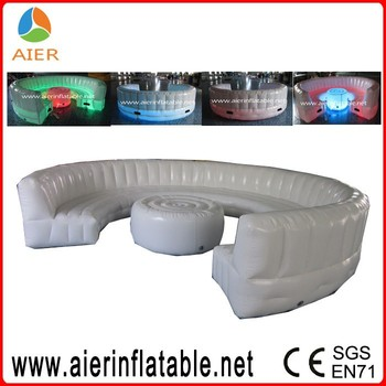 Inflatable Round Sofa With LED Light, Colorful Led Light Inflatable Sofa Bed,  Led Inflatable
