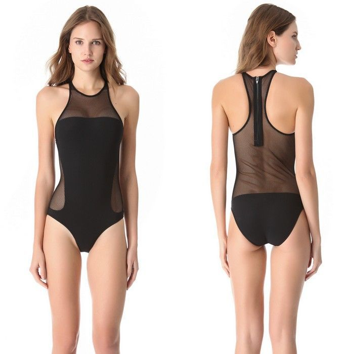 1852906ccfe2 Get Quotations · 2015 New hot mesh black one piece swimsuit sexy see  through mesh one piece monokini vintage