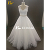 Latest Sleeveless See Through Back Tulle Lace Applique A line White Real Sample Wedding Dress
