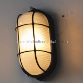 60w Aluminium Oval Marine Bulkhead Light In Black Wall Mount Fixture Entrance Outdoor