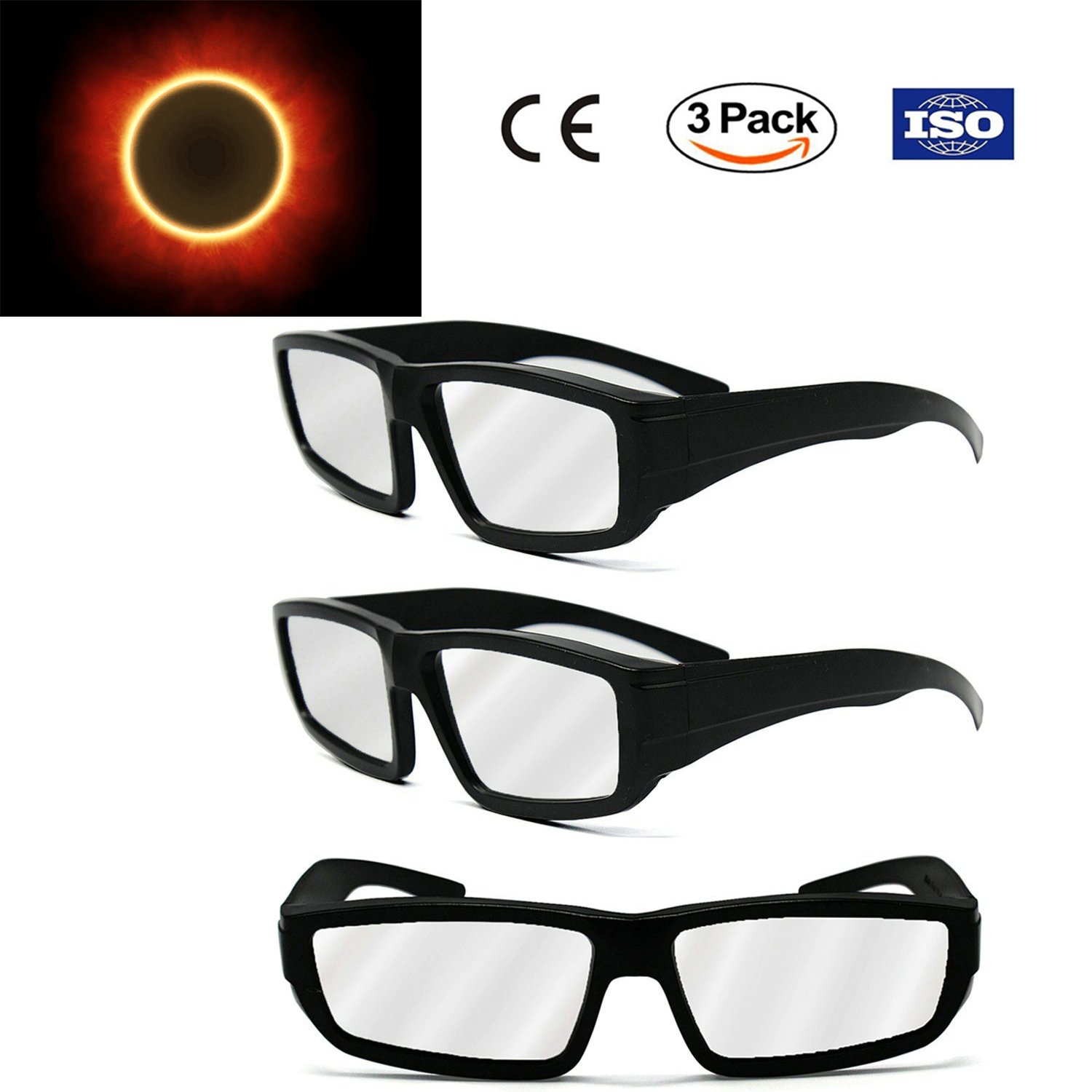 Professional Plastic Solar Eclipse Glasses - CE and ISO Certified Safe Sun Viewing - 3 Pack - Plastic Solar Eclipse Viewing Glasses for Adults & Teenagers - August 21, 2017