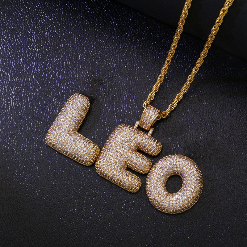 New Style HipHop Iced Out Gold Plated Micro Paved Zircon Custom Bubble Letter TRAP Pendant Necklace,Copper Choker Necklace