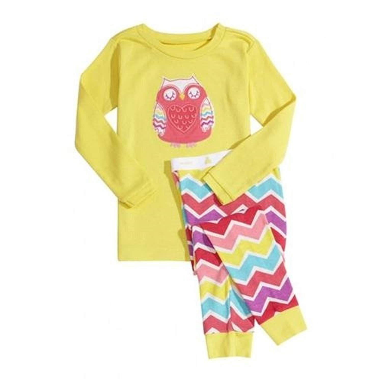 Kids Pajamas Long Sleeve Pants Girls Sleepwear owl Personality Pattern Cotton Breathable