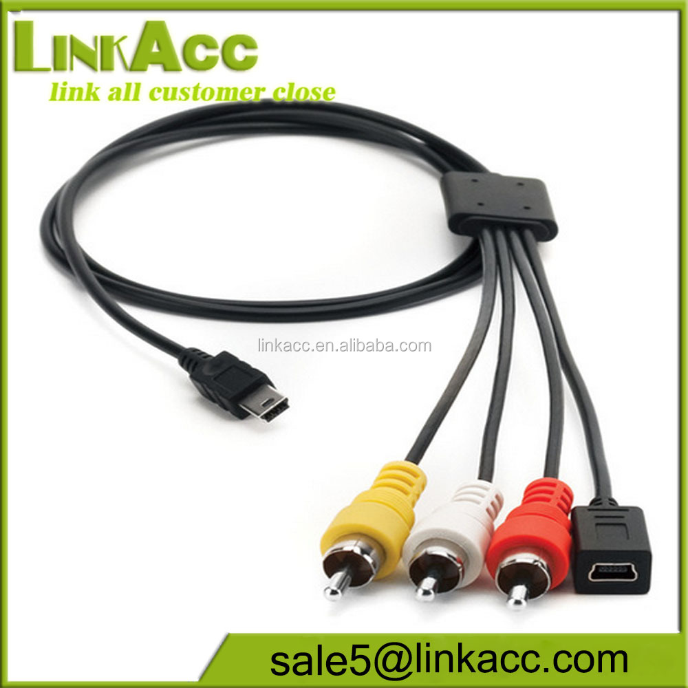 LKCL29 USB2.0 MINI B to 3*RCA+ USB/Composite Cable for Prime X Action Camera