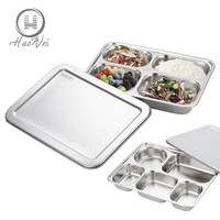 High quality 3/4/5 Compartments stainless steel fast food tray snack plate