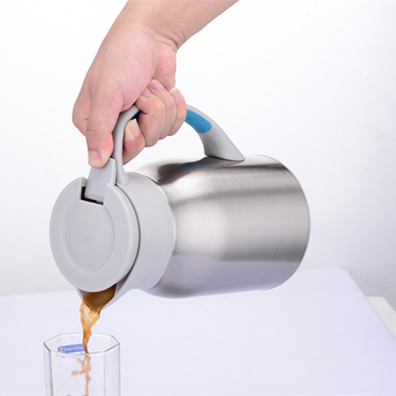 Stainless Steel Brass Silver Color Vacuum Coffee Pot Heat Preservation Water Flask Thermal Insulation Pot