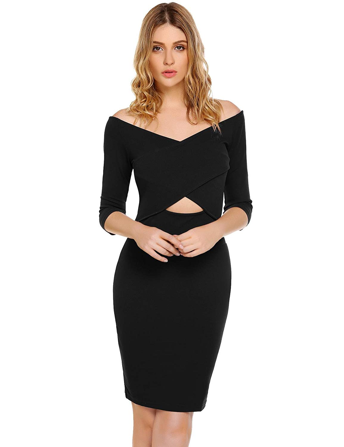 Get Quotations · Goldenfox Bodycon Dress Women Sexy V-Neck Off Shoulder 3 4  Sleeve Midriff Solid cacf3d9e0