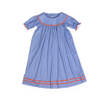 d12a1bf1a Baby cotton frocks designs blue Gingham Check lace Cotton Girls Frock dress