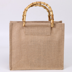 High-Quality Women Men Handbags Cotton Foldable Reusable Shopping Bag with bamboo handle
