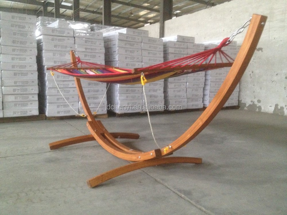 Wooden Curved Arc Hammock Stand With Hammock(2x1.2m)