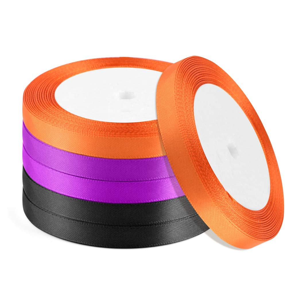 Coopay 6 Rolls Halloween Double Face Satin Ribbon Total 2/5 Inches x 150 Yard for Halloween Party Gift Favor(Orange, Black, Purple)